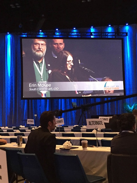OPEIU Local 277 member Erin McKee tells @aflcio17 that all Americans deserve health coverage now! #aflcio17
