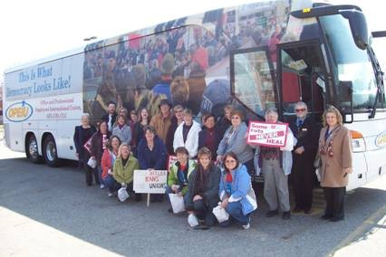 Members Boarding to Bus for Rally in Lansing, Michigan on March 16, 2011